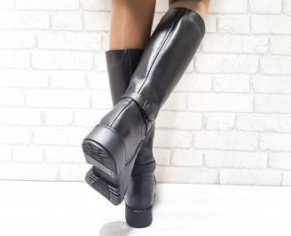 Дамски ботуши от естествена кожа черни 3