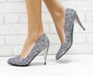 Дамски елегантни обувки еко кожа/брокат сребристи