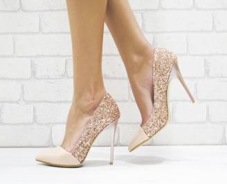Дамски елегантни обувки еко лак /брокат пудра
