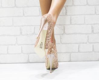 Дамски елегантни обувки еко лак /брокат пудра 3