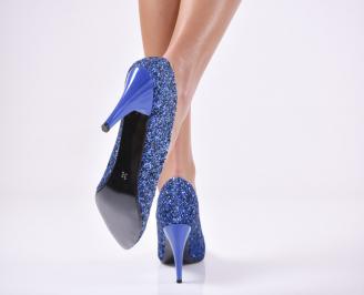 Дамски елегантни обувки еко кожа/брокат сини 3