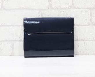 Абитуриентска чанта еко кожа /лак тъмно синя