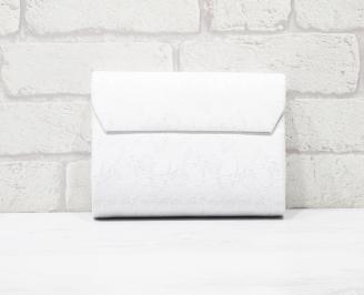 Абитуриентска чанта еко кожа/дантела бяла