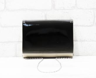 Абитуриентска чанта еко кожа/лак бежово/черно