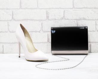 Комплект обувки и чанта еко кожа/лак  бежови