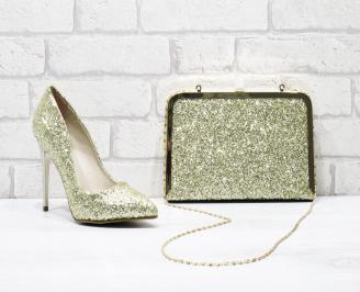 Комплект дамски обувки и чанта еко кожа златисти