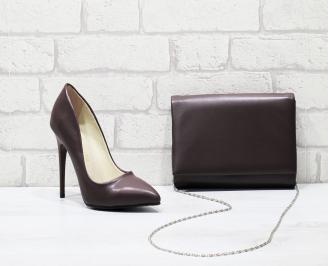Комплект дамски обувки и чанта бордо