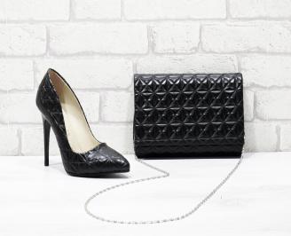 Комплект дамски обувки и чанта черни