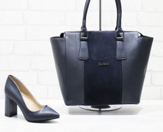 Комплект дамски обувки и чанта еко кожа сини