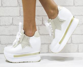 Дамски обувки  на платформа естествена кожа бели