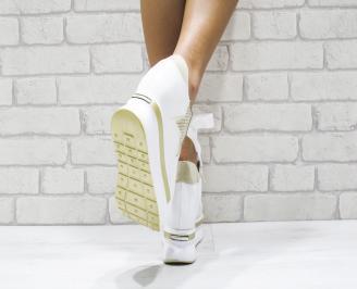 Дамски обувки  на платформа естествена кожа бели 3