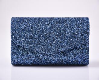 Абитуриентска чанта еко кожа/брокат синя