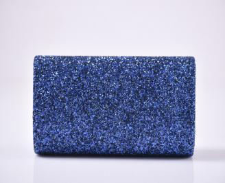 Абитуриентска чанта еко кожа/брокат синя 3