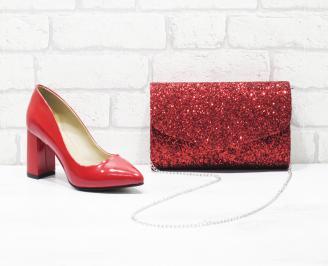 Комплект дамски обувки и чанта еко кожа/лак червени