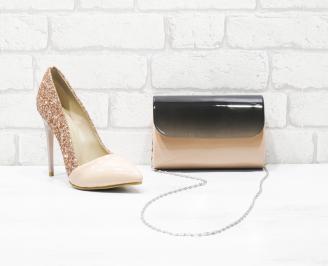 Комплект дамски обувки и чанта еко кожа/брокат пудра