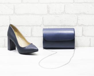 Комплект дамски обувки и чанта сини