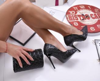 Комплект дамски обувки и чанта еко кожа черни 3