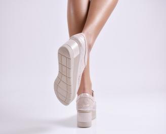 Дамски обувки естествена  кожа пудра 3