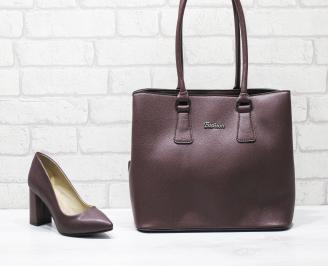 Комплект дамски обувки и чанта еко кожа бордо