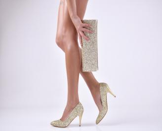 Комплект дамски обувки и чанта еко кожа/брокат златисти