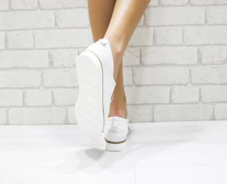 Дамски обувки Гигант равни естествена кожа бели 3