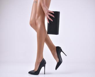Комплект дамски обувки и чанта еко кожа/черни