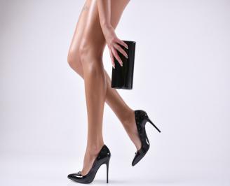 Комплект дамски обувки и чанта еко кожа/лак черни