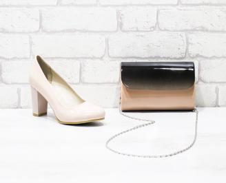 Комплект дамски обувки и чанта еко кожа/лак розови