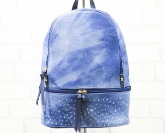 Дамска раница текстил синя
