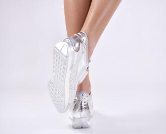 Дамски спортни обувки  сребристи 3
