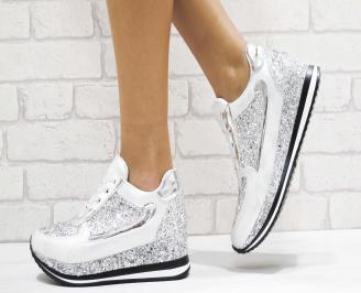 Дамски  обувки еко кожа/брокат сребристи