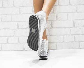 Дамски  обувки еко кожа/брокат сребристи 3