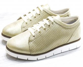 Дамски обувки Гигант равни естествена кожа златисти
