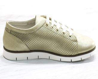 Дамски обувки Гигант равни естествена кожа златисти 3
