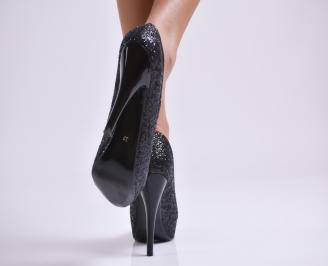 Дамски елегантни обувки еко кожа/брокат черни 3