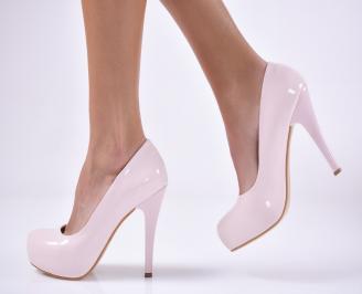Дамски елегантни обувки еко лак пудра