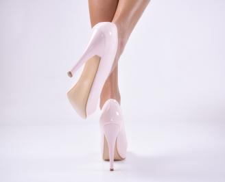 Дамски елегантни обувки еко лак пудра 3