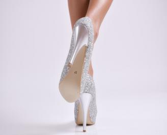 Дамски елегантни обувки еко кожа/брокат сребристи 3