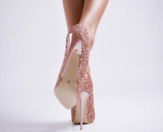 Дамски елегантни обувки еко кожа/брокат пудра 3
