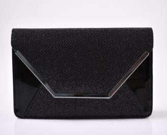 Абитуриентска чанта еко лак/брокат черна