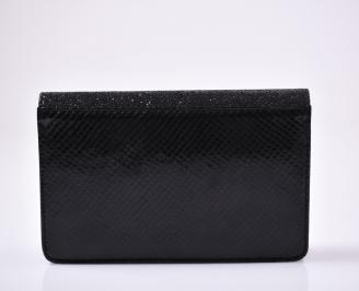 Абитуриентска чанта еко лак/брокат черна 3