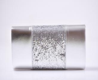 Абитуриентска чанта еко кожа/брокат сребриста