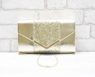 Абитуриентска чанта еко кожа/брокат златиста