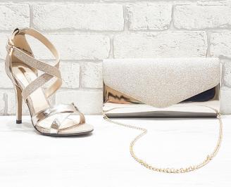 Комплект дамски сандали  и чанта еко кожа/лак златисти