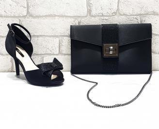 Комплект дамски сандали  и чанта сатен черни