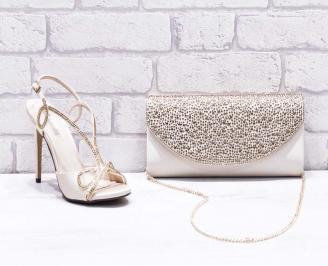 Комплект дамски сандали  и чанта сатен/текстил бежови