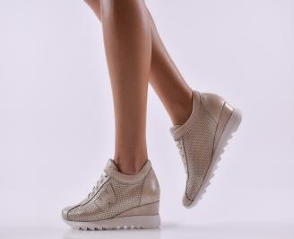 Дамски обувки  на платформа естествена кожа златни
