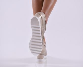 Дамски обувки  на платформа естествена кожа златни 3