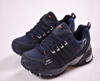 Юношески  маратонки еко кожа  текстил сини