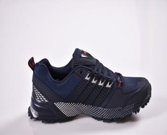 Юношески  маратонки еко кожа  текстил сини 3